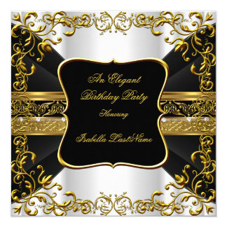 Elegant White Black Gold Ornate Birthday Party Card