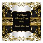 Elegant White Black Gold Ornate Birthday Party Invitation
