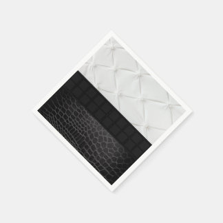 Elegant White Black Leather Standard Cocktail Napkin