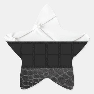 Elegant White Black Leather Star Sticker