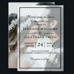 """Elegant White & Black Photo Wedding Invitation<br><div class=""""desc"""">Elegant White & Black Photo Wedding Invitation</div>"""