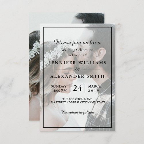 Elegant White  Black Photo Wedding Invitation