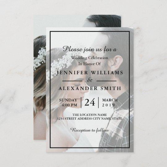 Elegant White & Black Photo Wedding Invitation