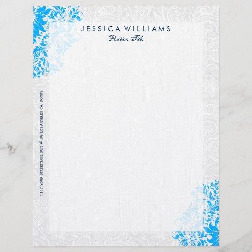 Elegant White & Blue Floral Lace Letterhead