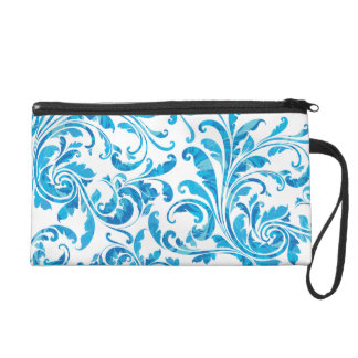 Elegant White & Blue Floral Vintage Wristlet