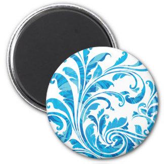 Elegant White & Blue Floral Vintage Magnet