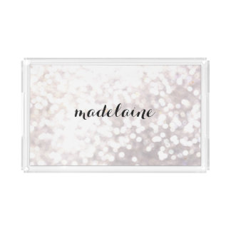 Elegant White Bokeh Personalized Acrylic Tray