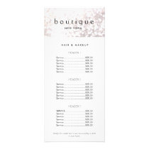 Elegant White Bokeh Salon Price List Menu