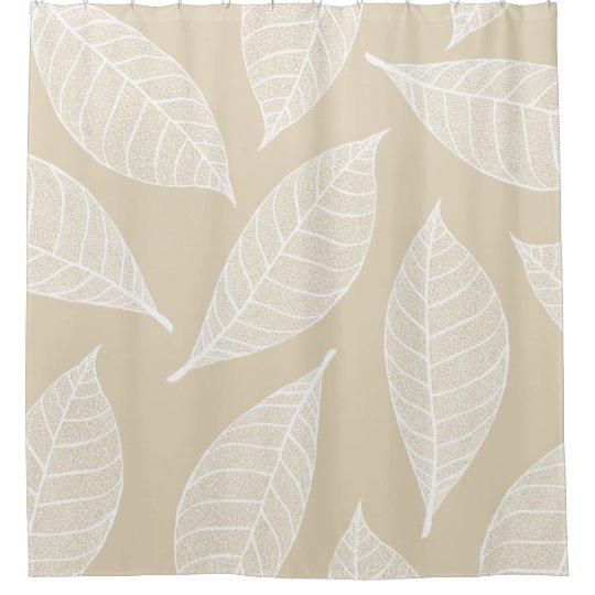 Elegant White Botanical Leaf Skeletons Cream Shower Curtain
