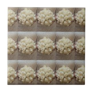 Elegant White Bridal Bouquet Ceramic Tile