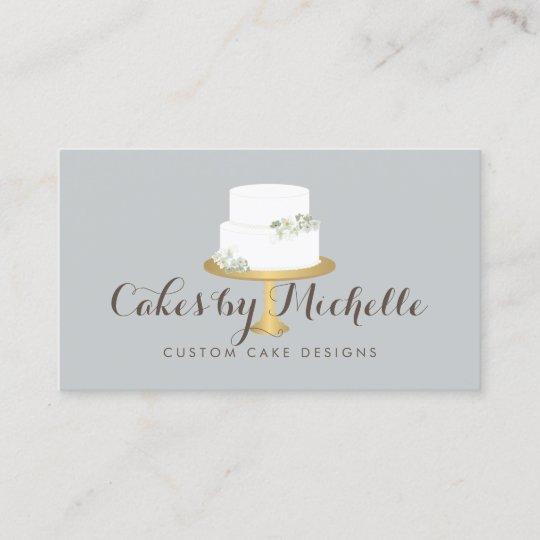 Elegant white cake with florals cake decorating business card elegant white cake with florals cake decorating business card reheart Images