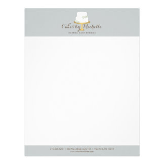 Elegant White Cake with Florals Cake Decorating Letterhead