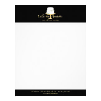 Elegant White Cake with Florals II Cake Decorating Letterhead