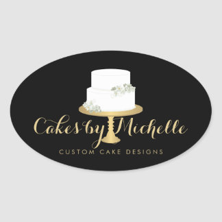 Elegant White Cake with Florals II Cake Decorating Oval Sticker