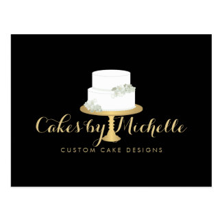 Elegant White Cake with Florals II Cake Decorating Postcard