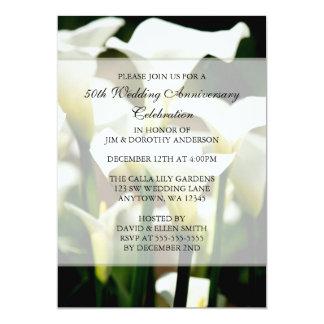 Elegant White Calla Lily 50th Wedding Anniversary Custom Invitations