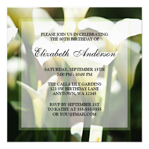 Elegant White Calla Lily 80th Birthday Party Personalized Invitations