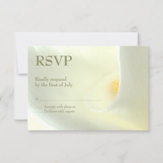 Elegant White Calla Lily RSVP Card