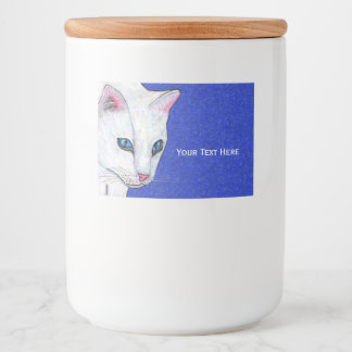 Elegant White Cat Piercing Blue eyes on blue Food Label