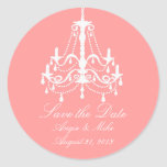 Elegant White Chandelier Save the Date Wedding Classic Round Sticker