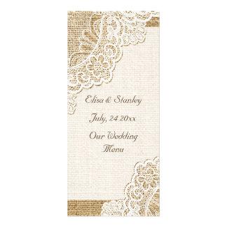 Elegant white corner lace on burlap wedding menu