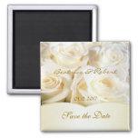 Elegant White - cream roses Save the date 2 Inch Square Magnet