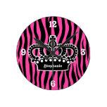 Elegant white crown on hot pink and black zebra wall clock