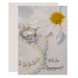 Elegant White Daisy Engagement Party Invitation