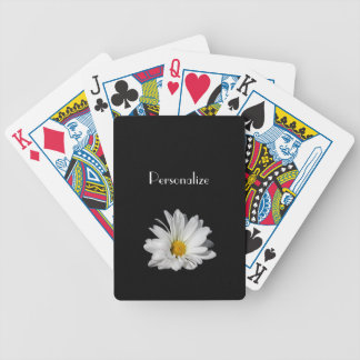 Elegant White Daisy Flower With Name Bicycle Playing Cards