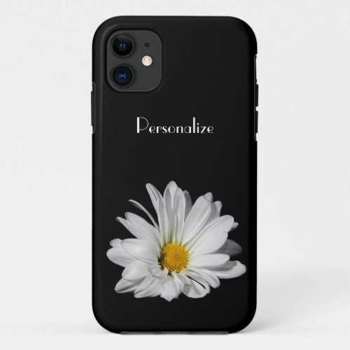 Elegant White Daisy Flower With Name Phone Case