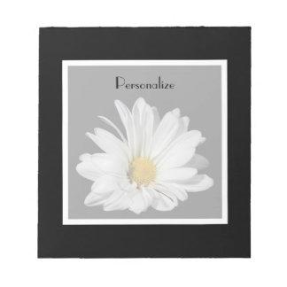 Elegant White Daisy Flower With Name Notepad
