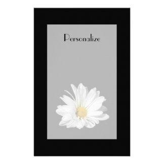 Elegant White Daisy Flower With Name Stationery