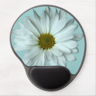 Elegant White Daisy Gel Mousepad