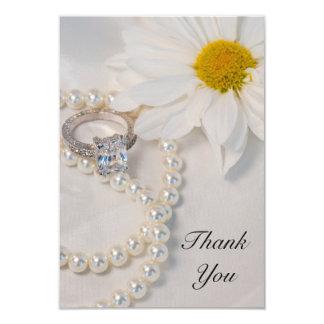 Elegant White Daisy Wedding Flat Thank You Notes Card