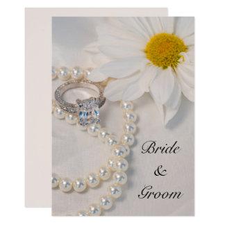 Elegant White Daisy Wedding Invitation