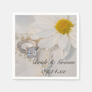 Elegant White Daisy Wedding Paper Napkin