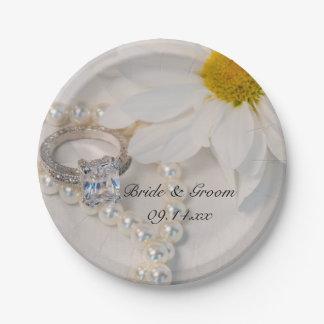 Elegant White Daisy Wedding Paper Plate