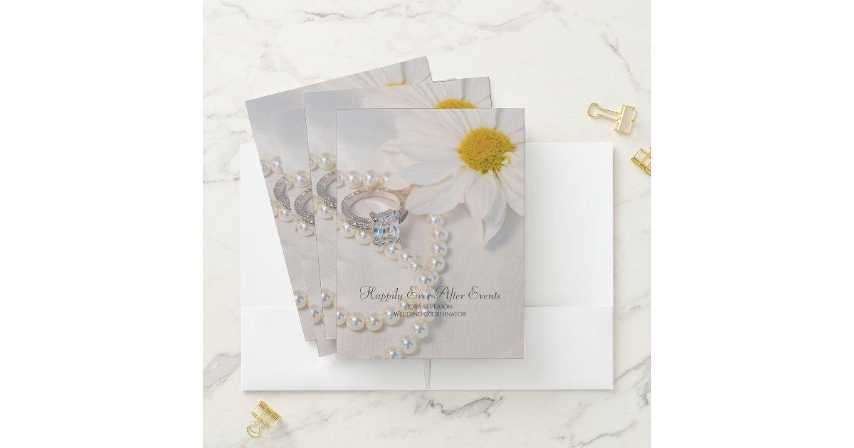 Elegant White Daisy Wedding Planner Business Pocket Folder