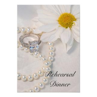 Elegant White Daisy Wedding Rehearsal Dinner Card