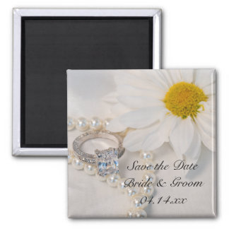 Elegant White Daisy Wedding Save the Date Magnet