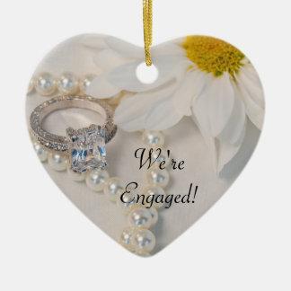 Elegant White Daisy We're Engaged Ceramic Ornament