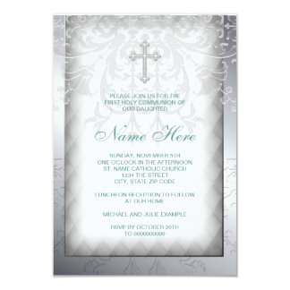 Elegant White Damask Cross First Communion Personalized Invitation