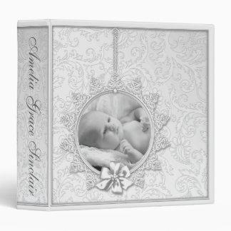 Elegant White Damask Photo Baby Album 3 Ring Binder