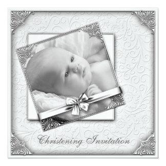 Elegant White Damask Photo Christening Card