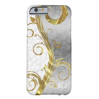 Elegant White Damasks Gold & Silver Swirls Barely There iPhone 6 Case