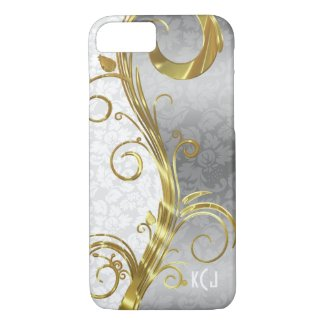 Elegant White Damasks Gold & Silver Swirls