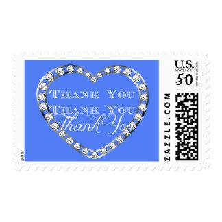 Elegant White Diamond Heart on Blue Thank You Postage