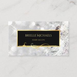 Elegant White Diamonds Gold Filigree Hair Salon Business Card