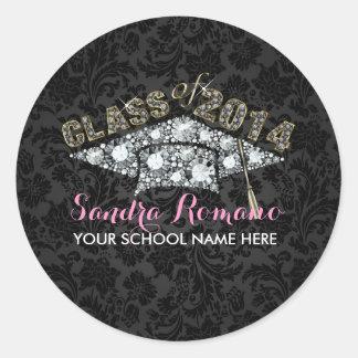 Elegant White Diamonds Mortarboard On Black Damask Round Sticker