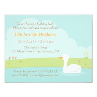 Elegant White Duck Birthday Party Invitations
